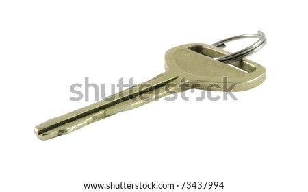 Closeup of metal key with ring