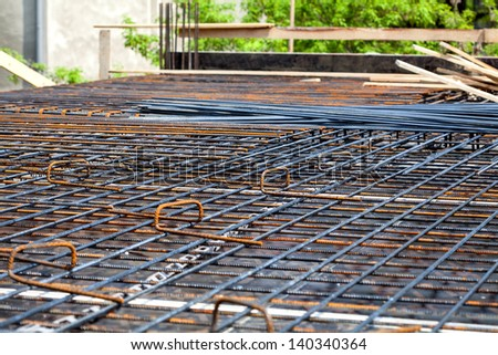 Closeup of metal rods at the building site