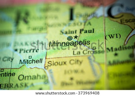 Closeup of Minneapolis, Minnesota on a political map of USA. - stock photo