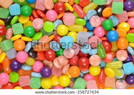 closeup of mixed candies - stock photo