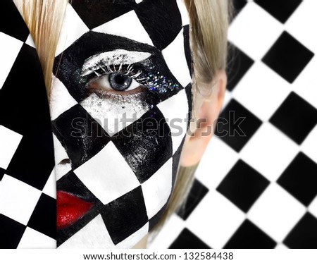 Closeup of model with a chess pattern - stock photo