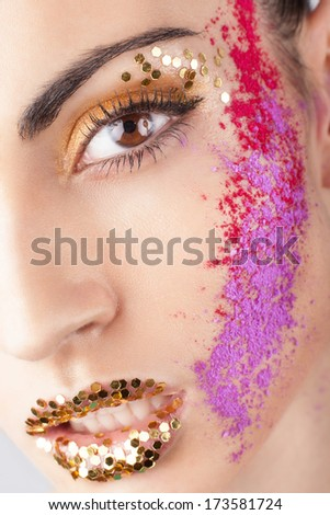 Closeup of model with extraordinary makeup - stock photo