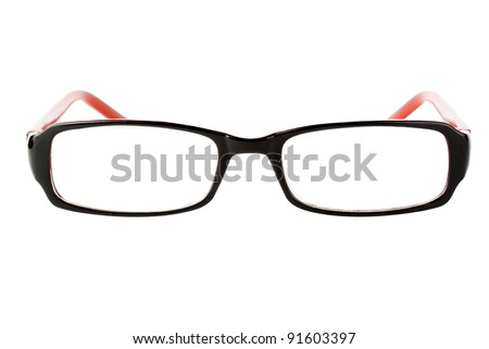 Closeup of modern glasses on the white background. - stock photo