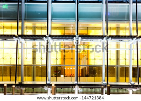 closeup of modern office building at night