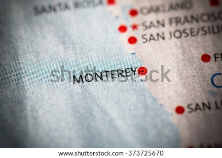 Closeup of Monterey, California on a map of the USA. - stock photo