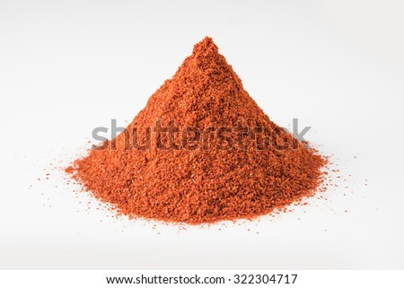 Closeup of mountain of chilly powder, isolated on white background, horizontal view, vertical and front view