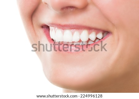 Closeup of mouth with perfect smile - stock photo