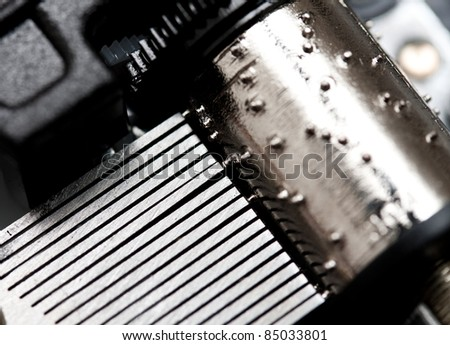 Closeup of music box tines - stock photo