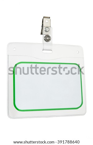 Closeup of name tag with copy space on white background