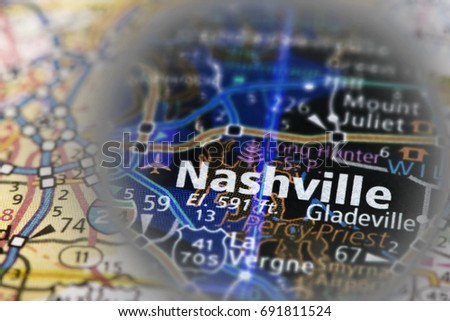 Closeup Of Nashville Tn On A Road Map Of The United States With An