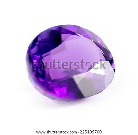 Closeup of natural purple amethyst gemstone - stock photo