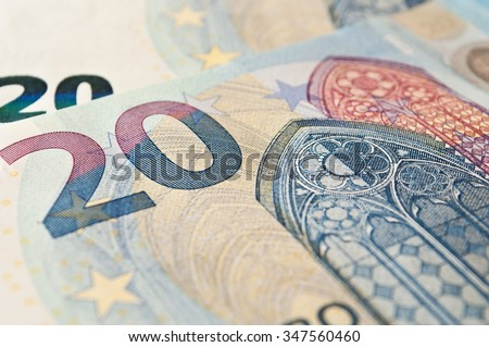 closeup of new banknote of twenty euros - stock photo
