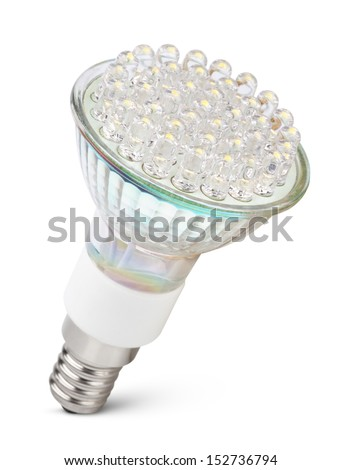 Closeup of newest LED light bulb isolated on white with clipping path - stock photo