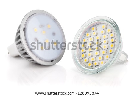 Closeup of newest LED light bulbs isolated on white with clipping path