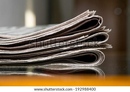 Closeup of newspepers - stock photo
