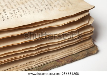 Closeup of old book pages texture - stock photo