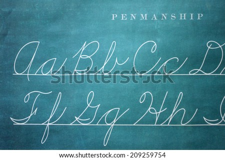 Closeup of Old-Fashioned Penmanship Guide - stock photo