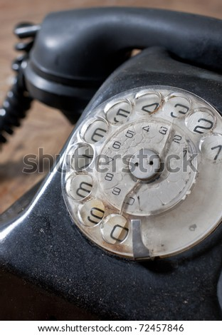 Closeup of old fashioned telephone.