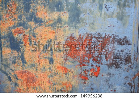 Closeup of old gray metal background with rust and scratches