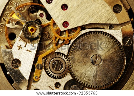 Closeup of old metal clock mechanism