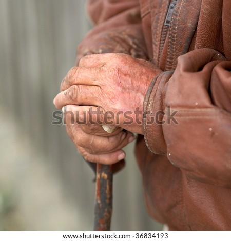 closeup of old peasant hands