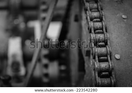 Closeup of old rear chain - stock photo