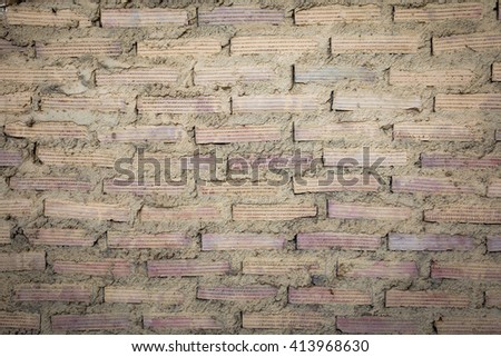 Closeup of Old Red White Brick Wall Background. Retro Brickwork Texture With Space For Text Or Image - stock photo