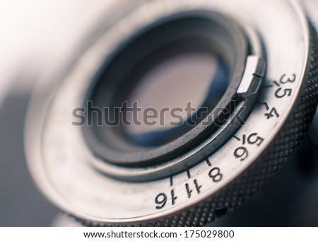 Closeup of old retro film camera lens