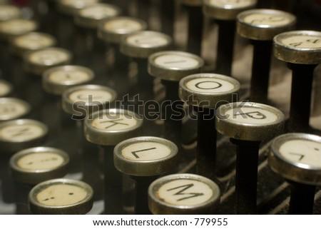 Closeup of old typewriter - stock photo