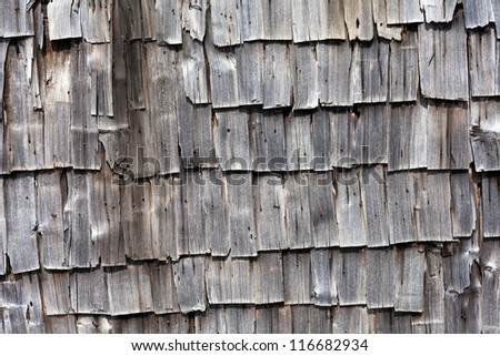 Closeup of old wooden shingle background