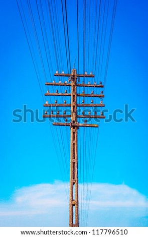 Closeup of old wooden telegraph pole, blue sky - stock photo
