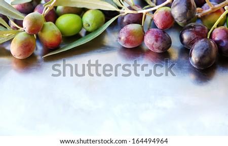 Closeup of olives background - stock photo