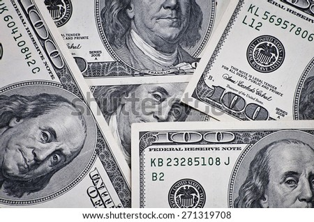 Closeup of  one hundred dollar bills - stock photo