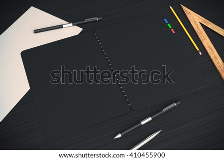 Closeup of open black notepad on dark wooden desktop with other office tools. Mock up, 3D Rendering - stock photo