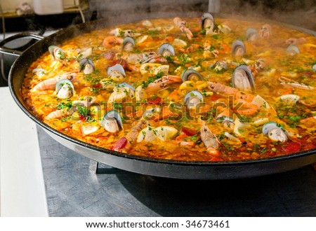 closeup of paella - stock photo