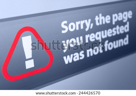 Closeup of Page Not Found sign in Internet Browser on LCD Screen - Shallow depth of field