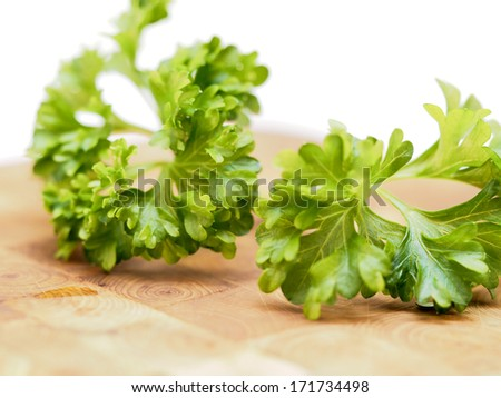 Closeup of parsley leaves on a wooden table