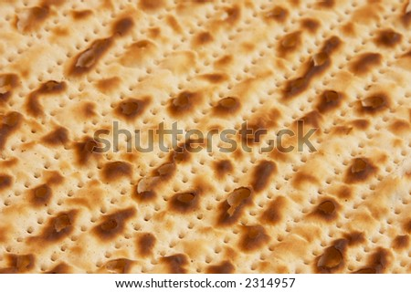 Closeup of Passover Matzah