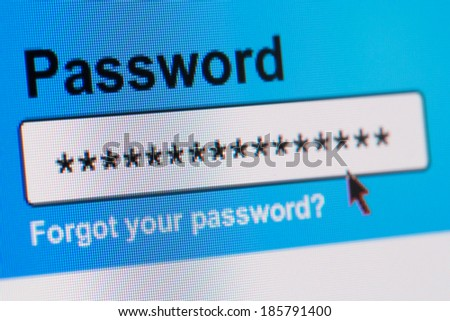 Closeup of Password Box in Internet Browser - stock photo