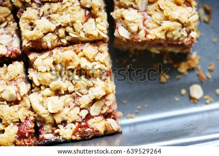 Closeup of Peanut Butter and Strawberry Jelly Oat Bar Squares