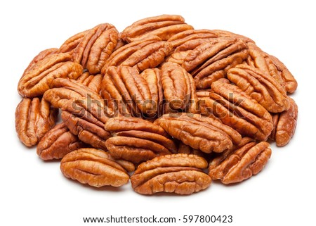 Closeup of pecan nuts, isolated on the white background, clipping path included.