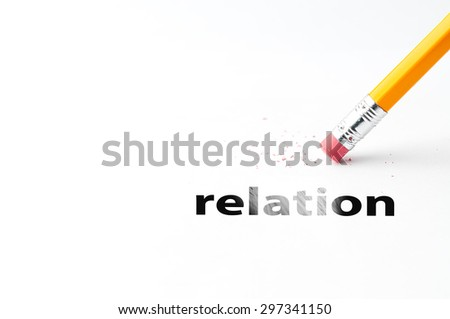 Closeup of pencil eraser and black relation text. Relation. Pencil with eraser. - stock photo