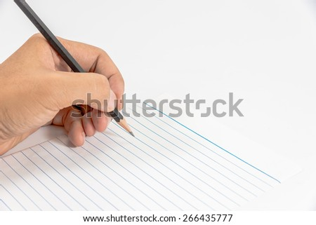 Closeup of pencil writing on a paper note.
