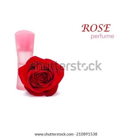 Closeup of perfume bottle with natural rose flower on white background - stock photo