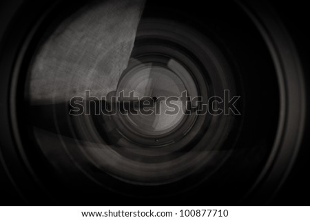 closeup of photo camera lens background - stock photo