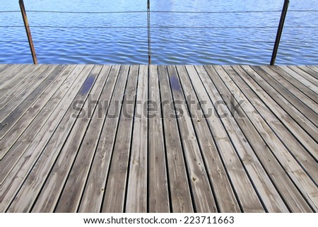 closeup of photo, old wooden floor in a park