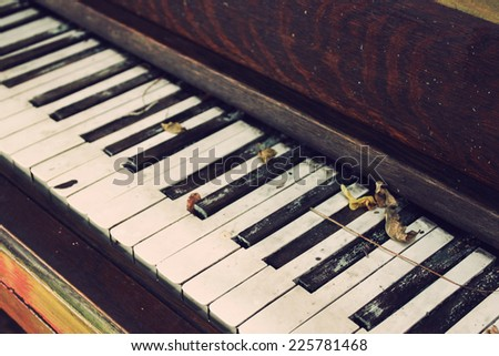Closeup of piano keys - stock photo