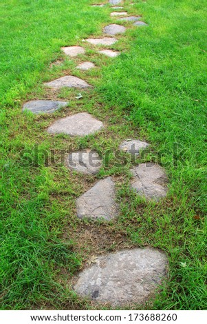 closeup of pictures, path and lawn in a park, China