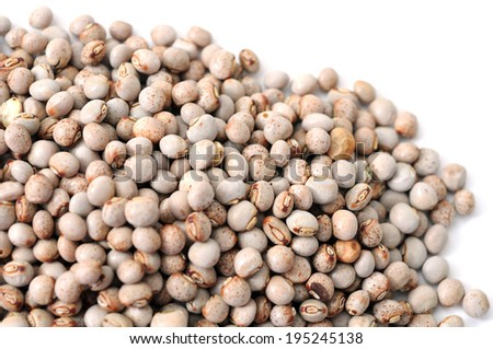 closeup of pigeon pea on white background