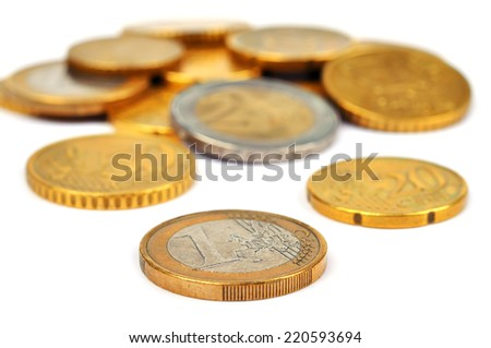 Closeup of pile of euro coins over white background - stock photo